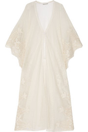 Edna Swiss-dot tulle and crocheted lace kimono