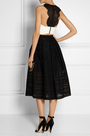 Alice + Olivia Wolla cropped crepe and lace top