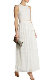 Alice + Olivia Maci embroidered plissé-tulle maxi skirt