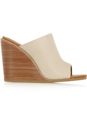 Anna textured-leather wedge mules