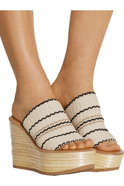 Kenna woven cotton wedge sandals