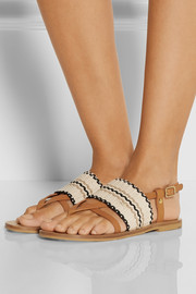 Kenna leather and woven cotton sandals