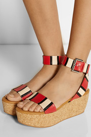 See by Chloé Alia striped leather wedge sandals
