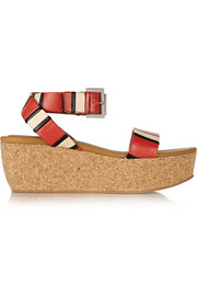 Patti striped leather wedge sandals