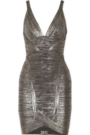 Hervé Léger Ari metallic bandage mini dress
