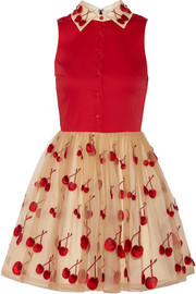 Cherry Pouf cotton-blend and tulle dress