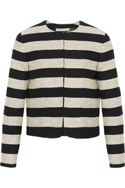 Alice + Olivia Kidman striped cotton-blend jacket