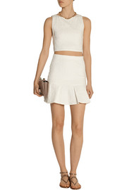Alice + Olivia Lewis pleated cloqué mini skirt