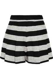 Pleated striped cotton-blend shorts
