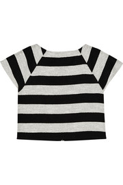 Cropped striped cotton-blend top