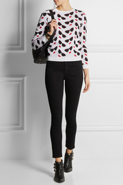 Alice + Olivia Smiley Stace intarsia cotton-blend sweater