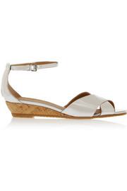 Seditionary metallic leather wedge sandals