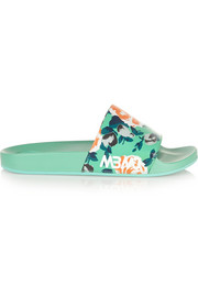 Tech floral-print PU slides