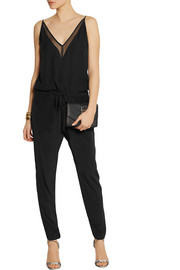 Mason by Michelle Mason Chiffon-paneled silk-georgette jumpsuit