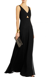 Cutout crepe and silk gown
