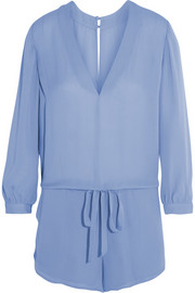 Silk-georgette playsuit