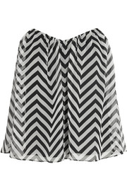 Printed silk-chiffon strapless top