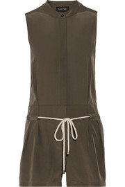 Daisy silk-crepe playsuit