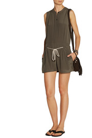 Saloni Daisy silk-crepe playsuit