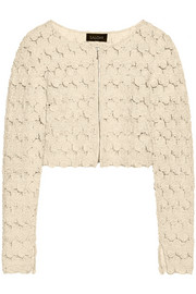 Cropped appliquéd tulle jacket