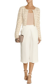 Saloni Cropped appliquéd tulle jacket