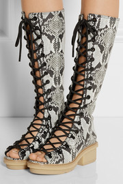 Mallory lace-up snake-effect leather knee boots
