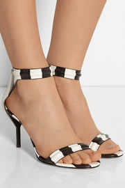 3.1 Phillip Lim Martini striped textured-leather sandals