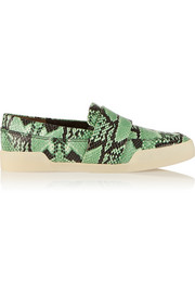 Morgan snake-effect leather slip-on sneakers