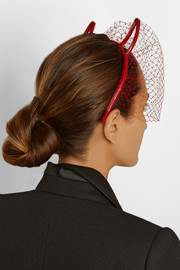Eugenia Kim Devil patent-leather and point d'esprit headband
