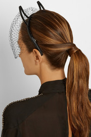Devil patent-leather and point d'esprit headband