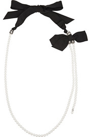 Lanvin Silver-tone, faux pearl and crystal necklace