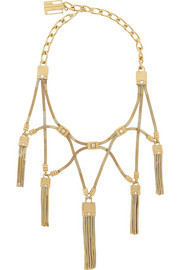 Tasseled gold-tone crystal necklace
