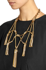 Lanvin Tasseled gold-tone crystal necklace
