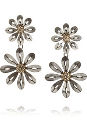 Lanvin Silver-tone crystal clip earrings