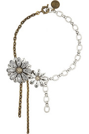 Gold and silver-tone crystal necklace