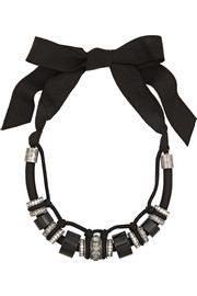Lanvin Gunmetal-tone, bead and crystal necklace