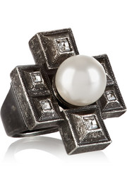 Silver-plated faux-pearl and crystal ring