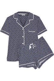 The Novelist polka-dot cotton-blend jersey pajama set