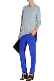 Tabi color-block silk straight-leg pants