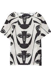 Zero+MariaCornejo Tabi embossed printed silk-blend top