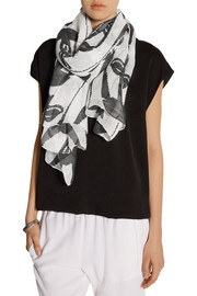 Printed modal, linen and silk-blend scarf