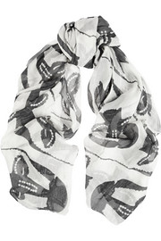 Zero+MariaCornejo Printed modal, linen and silk-blend scarf