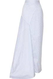 Wrap-effect striped cotton-poplin maxi skirt