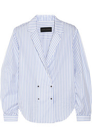 Michael Lo Sordo Striped cotton-poplin top