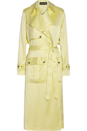 Washed silk-satin trench coat