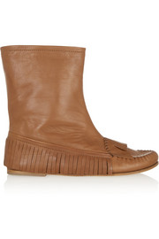 Tomas Maier Fringed leather ankle boots