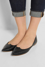 Tomas Maier Embossed leather point-toe flats