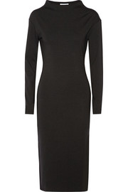 Funnel-neck stretch-jersey dress