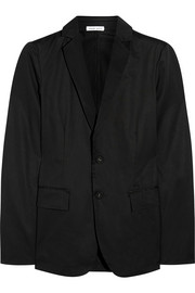 Satin-trimmed cotton-gabardine blazer