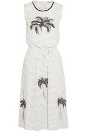 Tomas Maier Embellished printed crepe dress